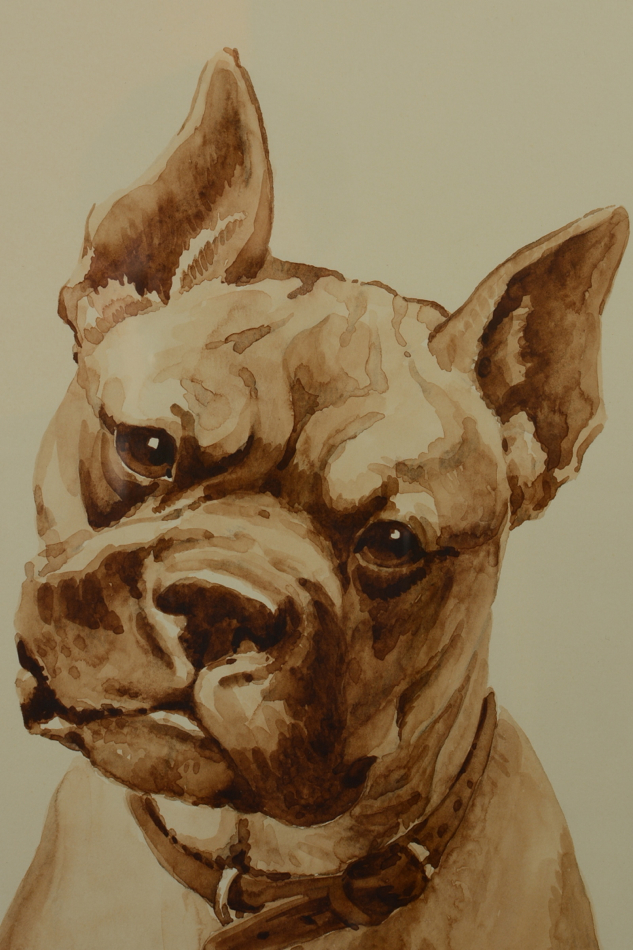 jacques cartier tableau portrait chien bouledogue bulldog art d co aquarelle ebay. Black Bedroom Furniture Sets. Home Design Ideas