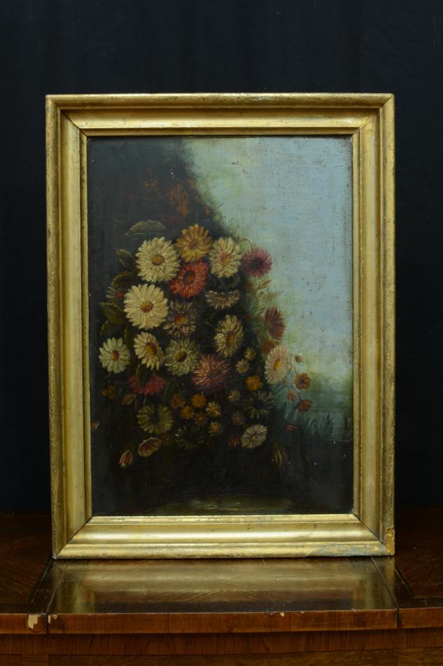 bel et ancien tableau bouquet de fleurs dans un paysage. Black Bedroom Furniture Sets. Home Design Ideas