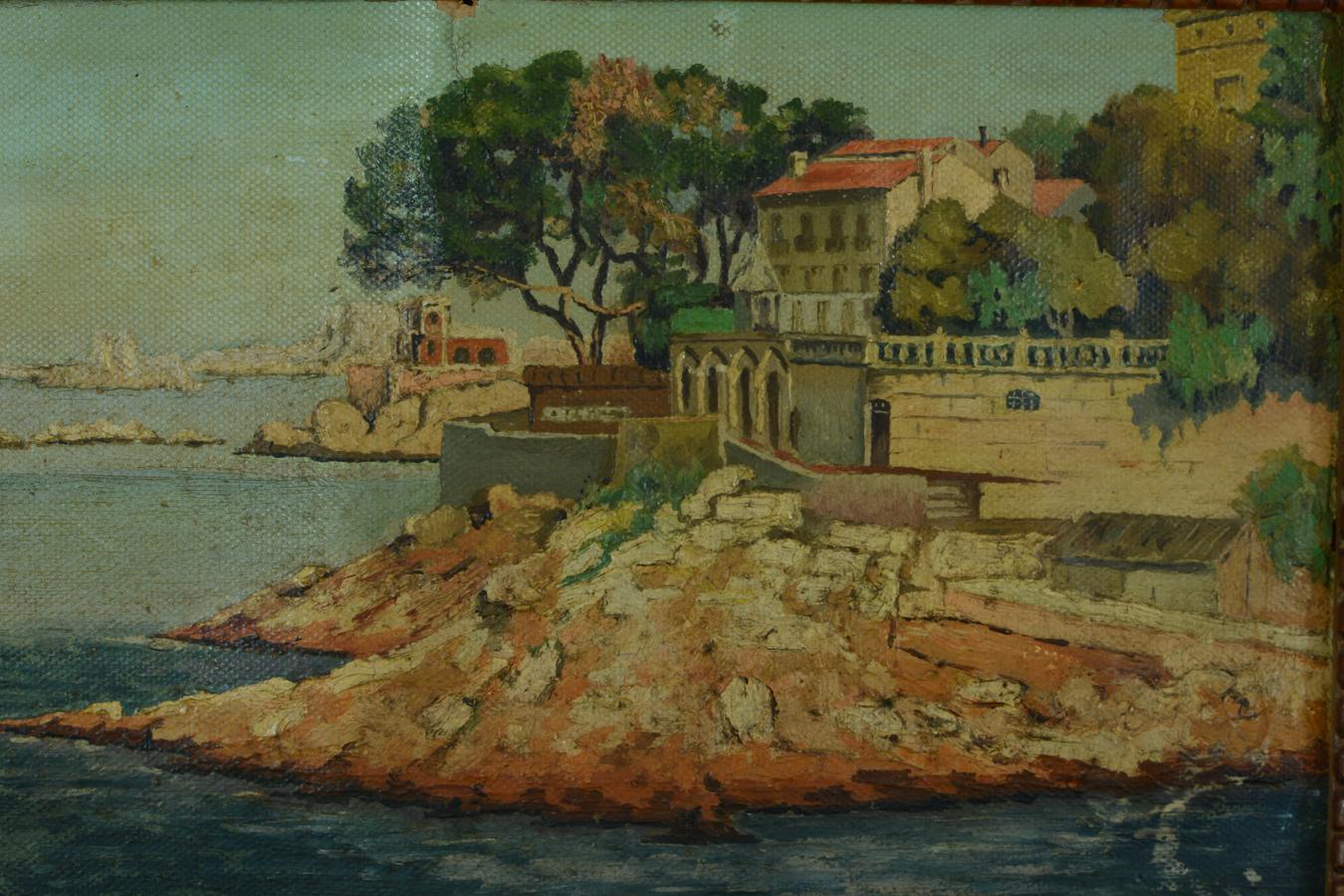 Beau tableau ancien bord de mer situ le petit nice - Le petit nice bar marseille ...